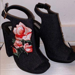 Women Denim Peep Toe Embroidered Block Heel Mule